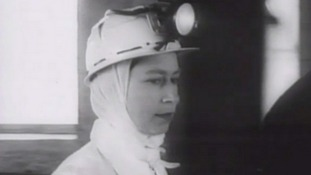 The Queen visits a mine in 1958