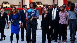 US First Lady Michelle Obama and her daughters Malia and Sasha visit the Summer Palace in Beijing.