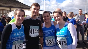 Katie Sayer, Johnny Sayer, Georgia Higgins and Lucy Sayer get ready to tackle the 13-mile route of the 30th Hastings Half Marathon