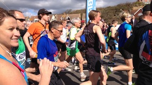 Runners at the start of the Hastings Half Marathon