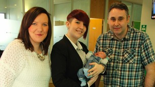 Hilary Crump (left) and her partner Karl Ford (right) meet NHS operator Christina Lees (centre)