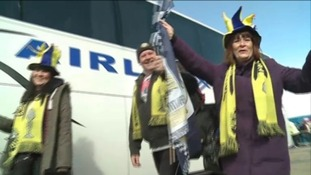 Gosport Borough fans are decked out in team colours, ready to support their side in this afternoon's FA Trophy final.