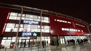 Langtree Park lit up at night