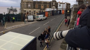 Access to the pier has been blocked, but it hasn't stopped fans heading to the sea front.