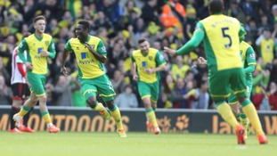 Alex Tettey celebrates his fantastic strike against Sunderland.