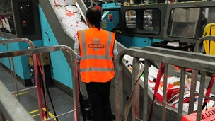 Royal Mail staff sort post at Nottingham Mail Centre.