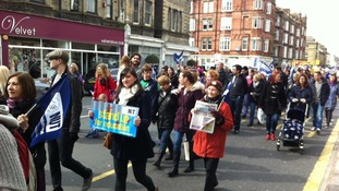 Striking teachers and supporters marching in Brighton