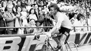 Jacques Anquetil performs a lap of honour at the Parc des Princes