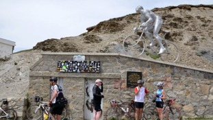 A monument honouring Octave Lapize becoming the first rider to conquer the mountain