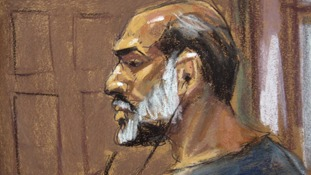 A court sketch of Suleiman Abu Ghaith.