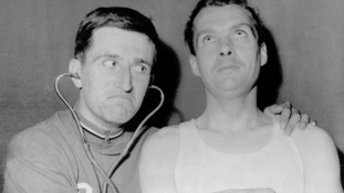Mirfield's Brian Robinson (right) along with fellow British cyclist Tom Simpson