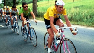 Joop Zoetemelk (right) leads from Bernard Hinault (left)