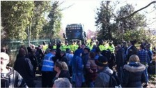 Anti-fracking protesters in standoff with police at Barton Moss.