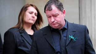 Jayne and Phil Wells-Burr leave Bristol Crown Court after the conviction of their daughter's murderers.