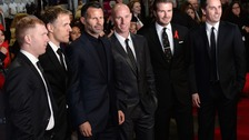 Paul Scholes, Phil Neville, Nicky Butt, Ryan Giggs, David Beckham and Gary Neville arriving at Premiere of Class of 92