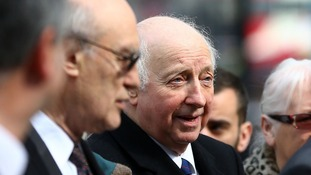 Arthur Scargill is pictured in Westminster ahead of the ceremony.