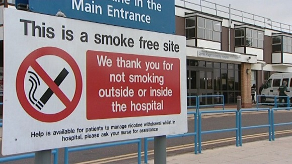 Smoke free sign at the James Paget Hospital in Gorleston