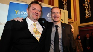 Gary Verity (left) with Tour organiser Christian Prudhomme