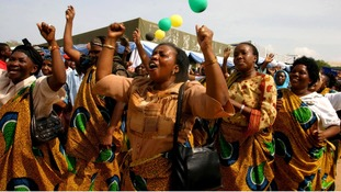 Women celebrate during rally to mark International Womens Day in Dar es Salaam