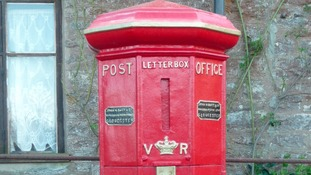 England's oldest postbox after it has been cleaned and painted