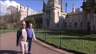 Fiances Andrew Wale and Neil Allard outside Brighton Pavilion