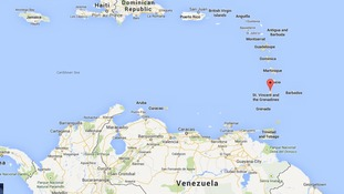 A map shows St Vincent in the Caribbean.