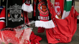 Scarves at Hillsborough memorial at Anfield
