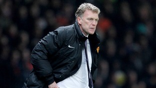 David Moyes looking pensive pitchside at Old Trafford