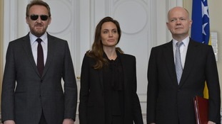 Angelina Jolie with and chairman of the Bosnian presidency Bakir Izetbegovic and William Hague.