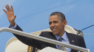 US President Barack Obama pictured as he departed Italy today.