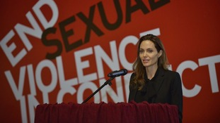 UNHCR goodwill ambassador Angelina Jolie speaks during a conference in Sarajevo, Bosnia.