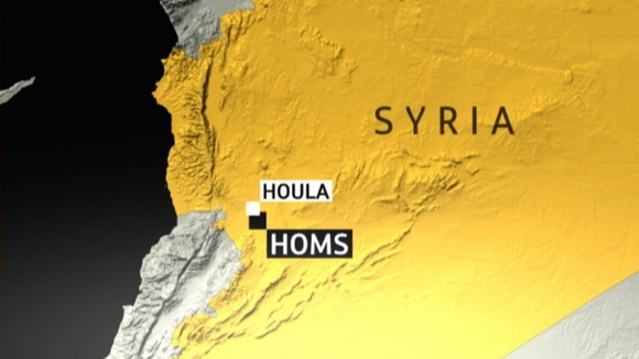 Map of Houla and Homs in Syria