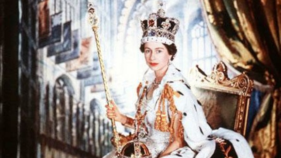 Portrait of the British Monarch, HM Queen Elizabeth II in Buckingham Palace on the day of her Coronation on 02 June 1953.