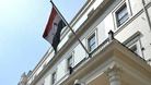 The flag outside the Embassy of the Syrian Arab Republic in central London