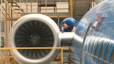 KLM plane and mechanic