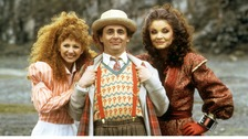 Kate O'Mara (right) with Bonnie Langford and Sylvester McCoy  on the Doctor Who set.
