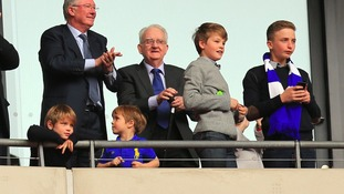 Proud dad Sir Alex Ferguson celebrates his son's win