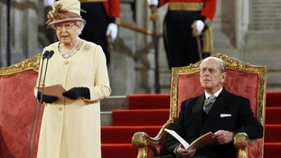 "The Queen paid tribute to her husband's ""constant strength"" as she addressed Parliament in March"