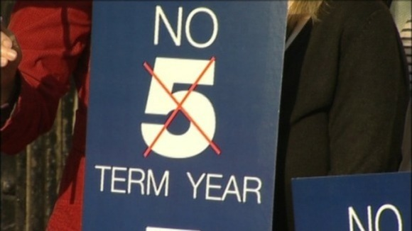 Past protests in Nottingham over plans for a five term academic year. 