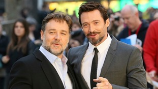 Russell Crowe and Hugh Jackman at London's Leicester Square.