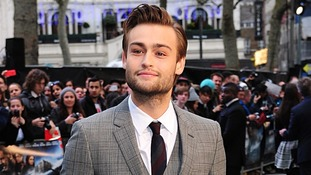 British actor Douglas Booth, who plays Noah's eldest son Shem, takes to the carpet.