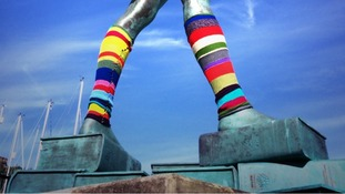 The giant leg-warmers were put there as an April Fool's Day joke.