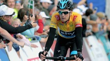Team Sky's Sir Bradley Wiggins reaches the summit of the climb at Haytor, during stage six of the 2013 Tour of Britain.