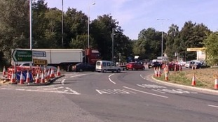 The stretch of road between the Fiveways roundabout and the Elveden crossroads has been closed.