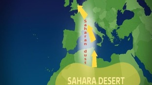 Dust has been swept up from the Sahara by the wind