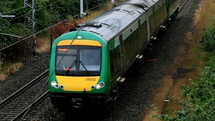 A London Midland train travels through West Bromwich