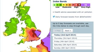 The pollution forecast for Wednesday is very high for large parts of the East.