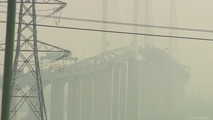 Visibility was heavily restricted on the QEII Bridge in Essex.