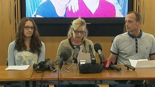 James' mother Julie Finch talks to the press in Chelmsford today.