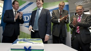 Phillip Monks, left, with George Osborne as Aldermore celebrated its first £1m of lending in 2012.